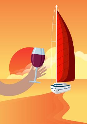Velejo com degustação de vinho